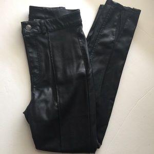 H&M Divided Black Faux Leather Pants Size 0